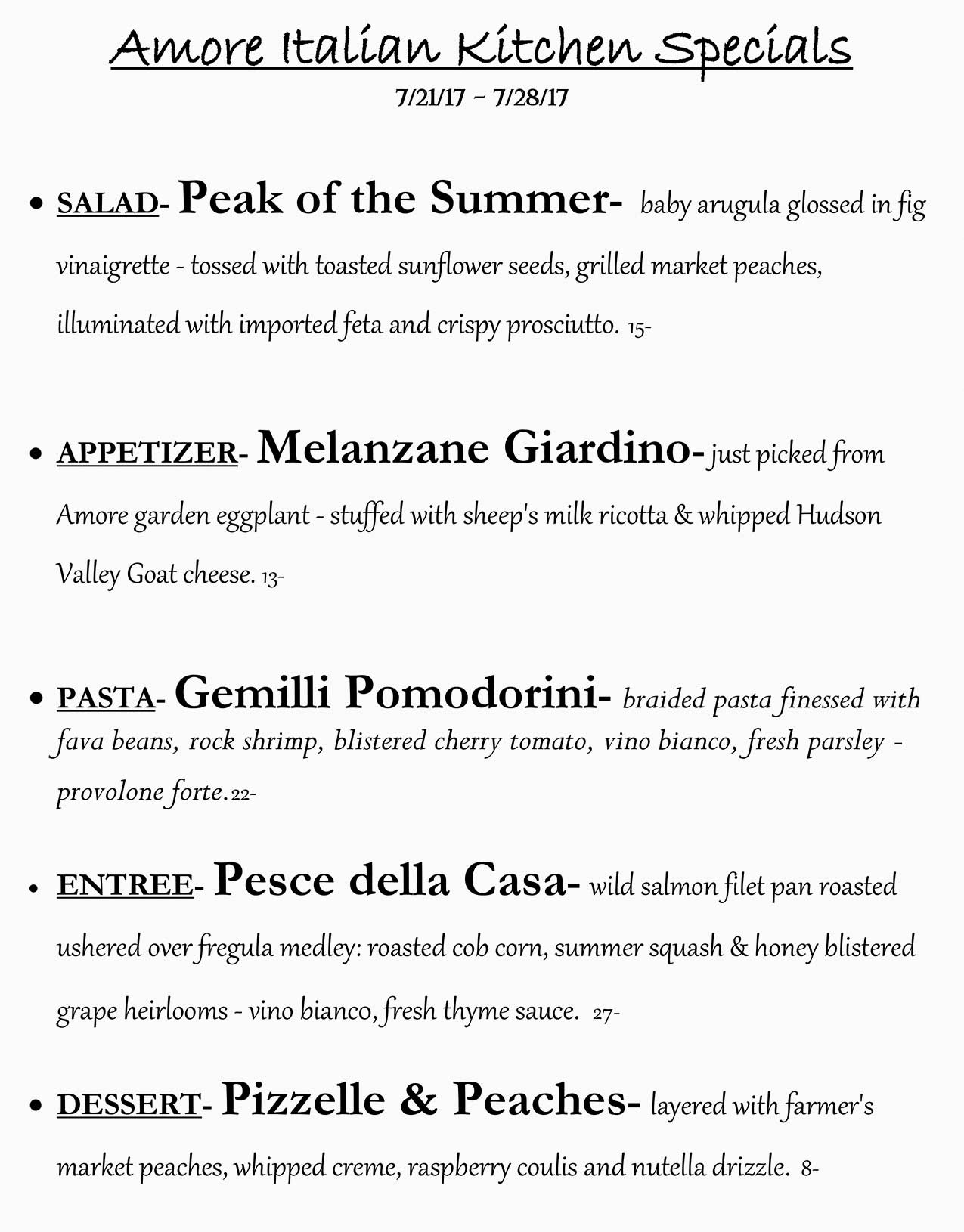 Amore Weekly Specials from 07/21 - 07/28
