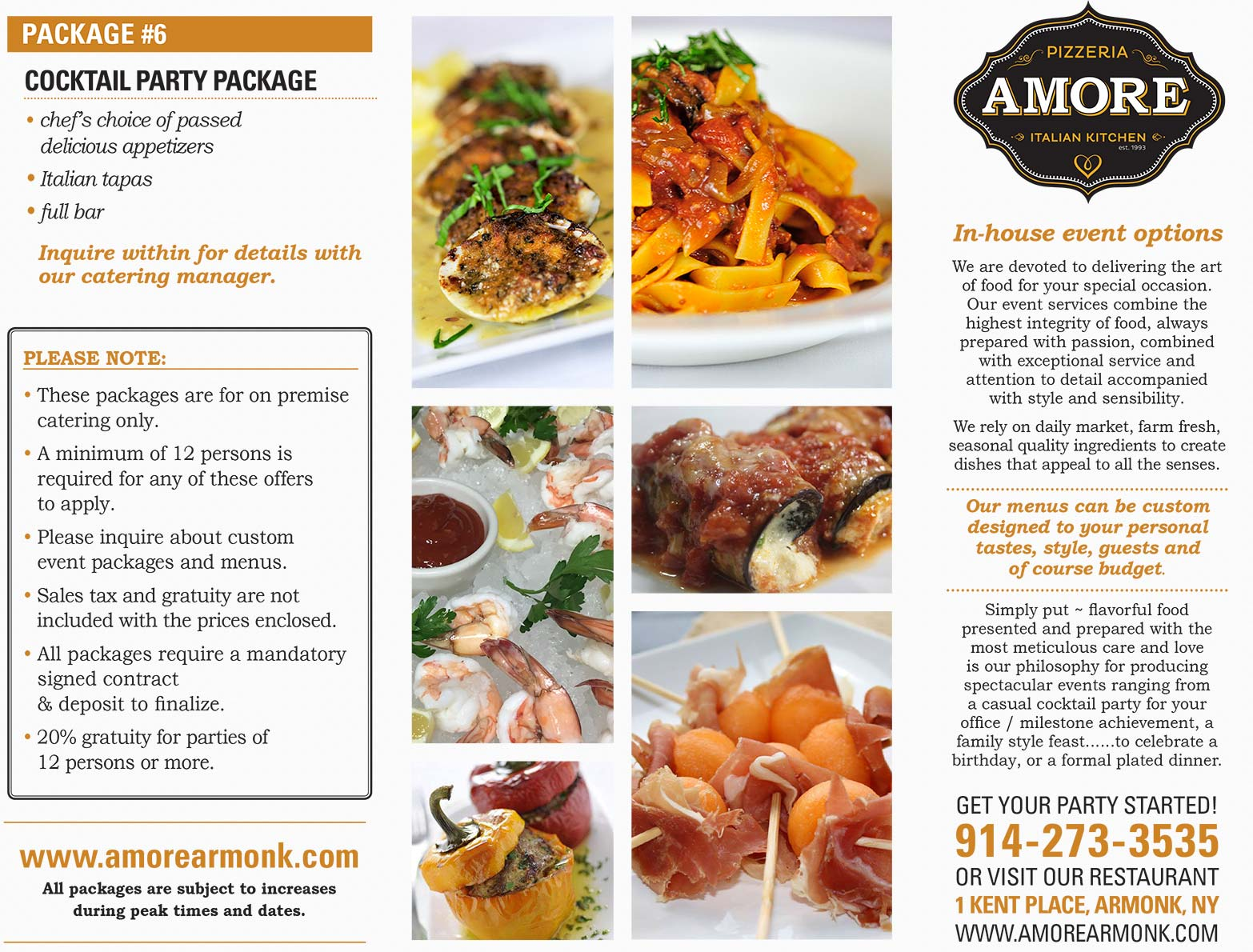 amore on premise catering page 01