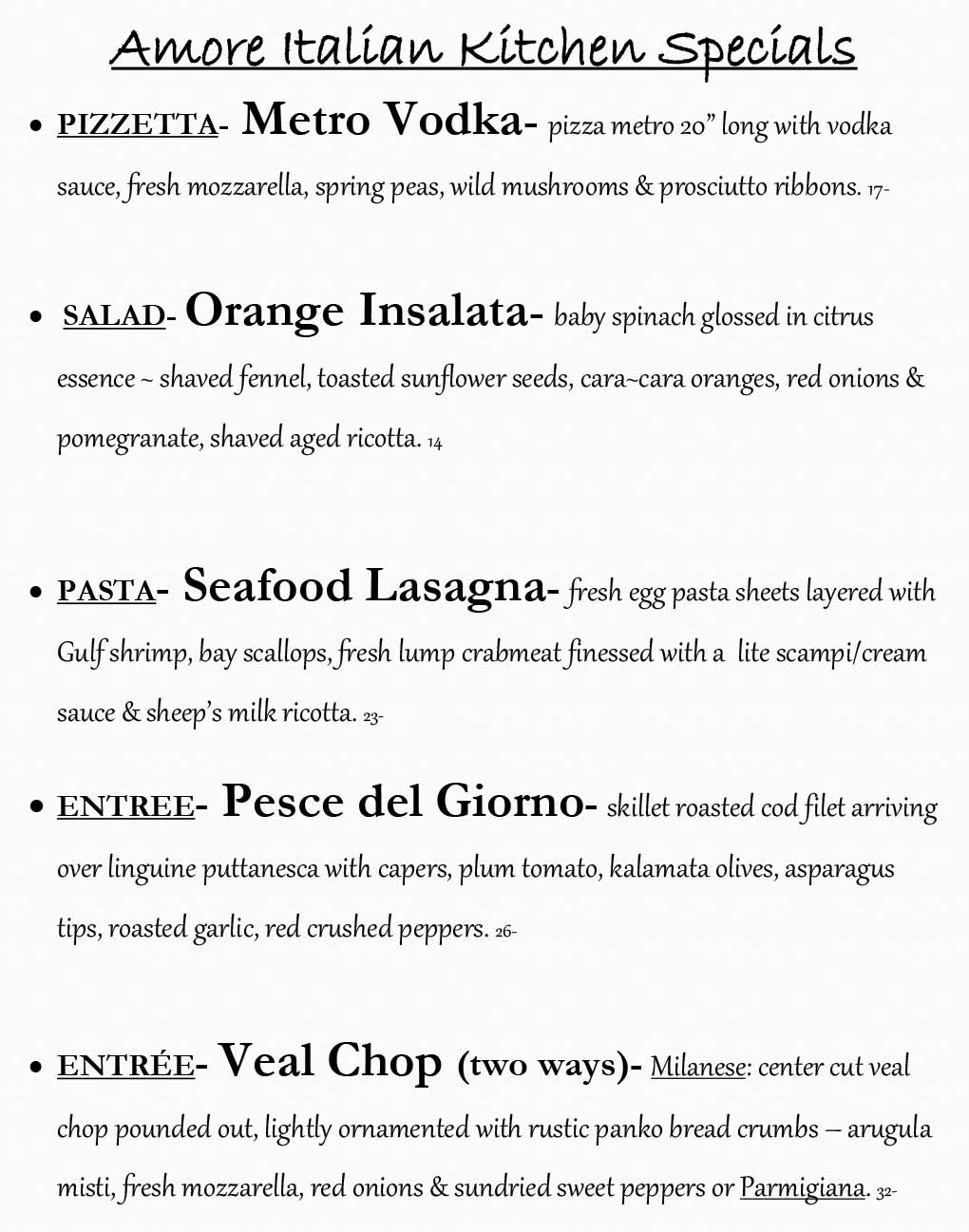 Amore Weekly Specials from 03/16 - 03/22