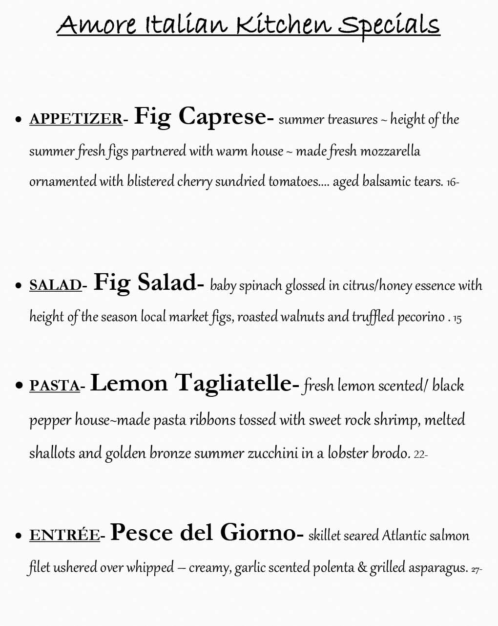 Amore Weekly Specials from 09/14 - 09/20