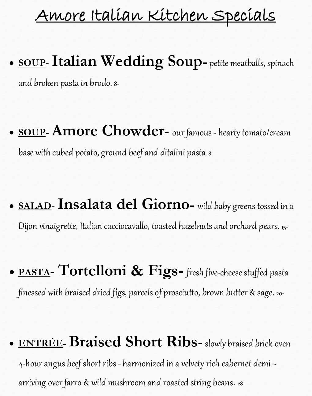 Amore Weekly Specials from 11/09- 11/15