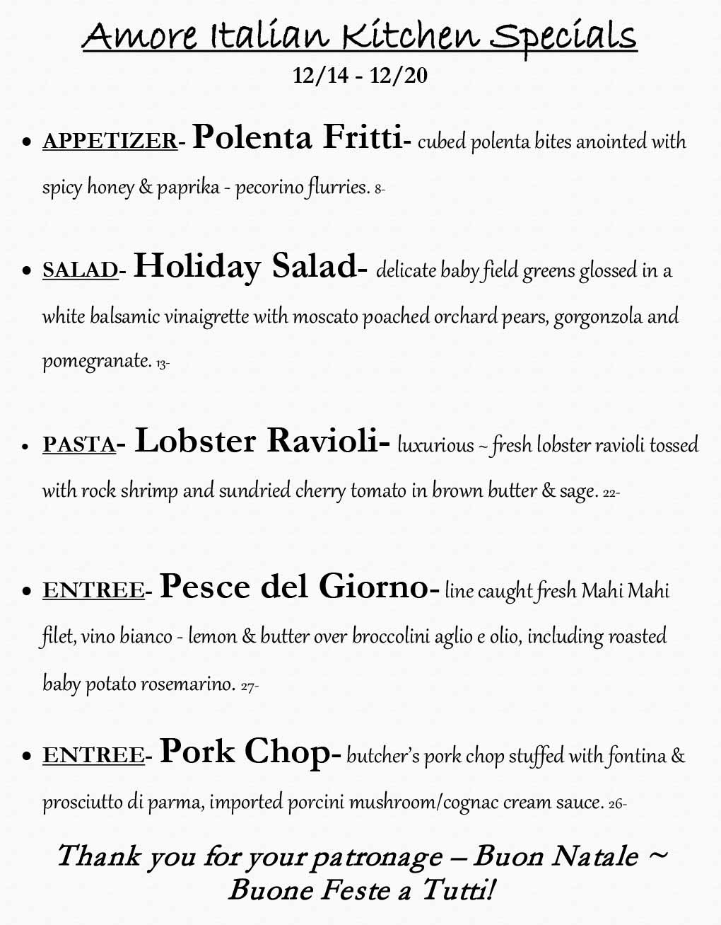 Amore Weekly Specials from 12/14 - 12/20