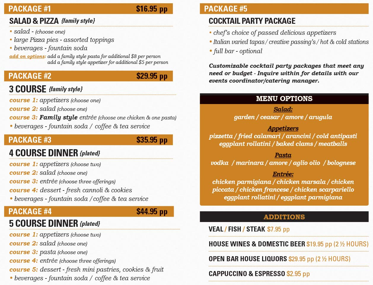 Amore Armonk In-House Events Catering Menu Page 2