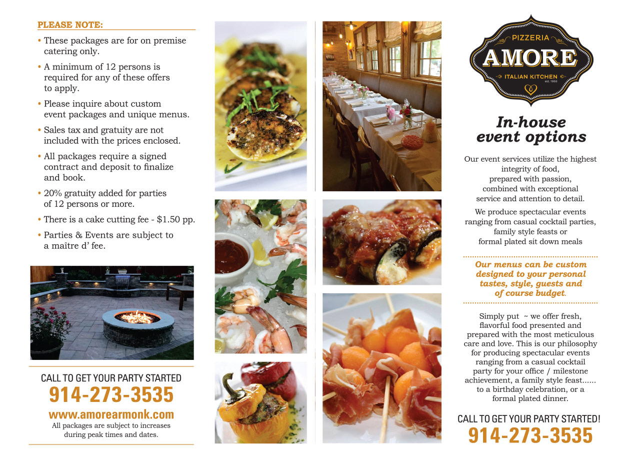 Amore Armonk In-House Events Catering Menu Page 1