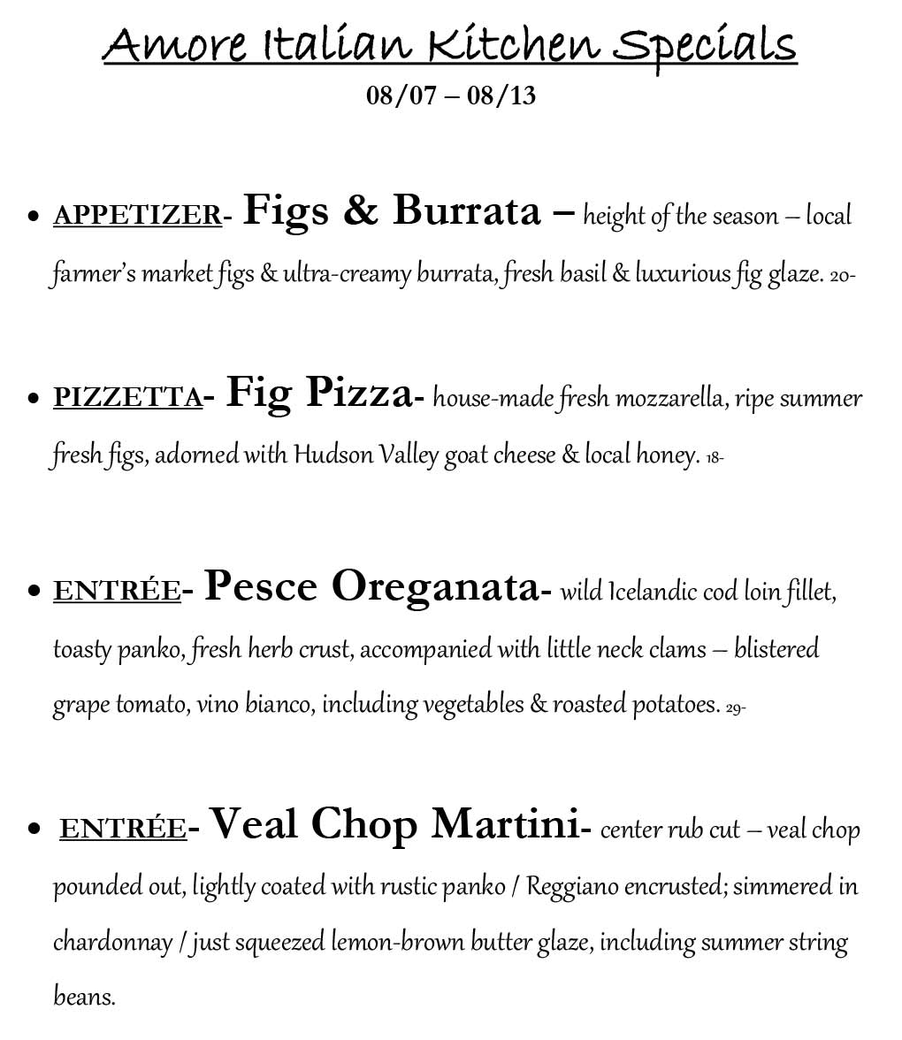 Amore Weekly Specials from 8/7 to 8/13