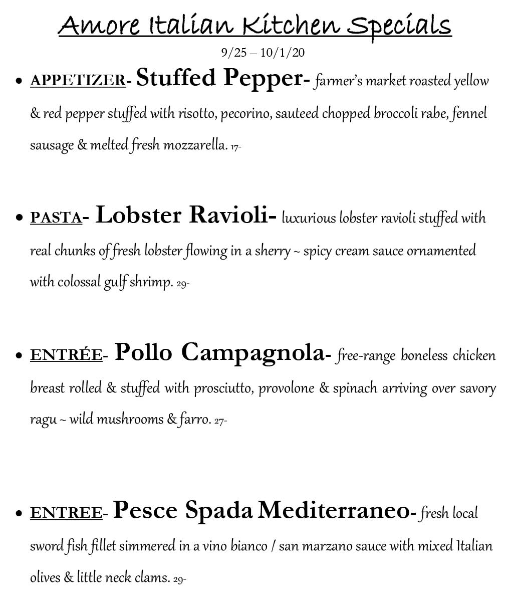 Amore Weekly Specials from 9/25 - 10/1