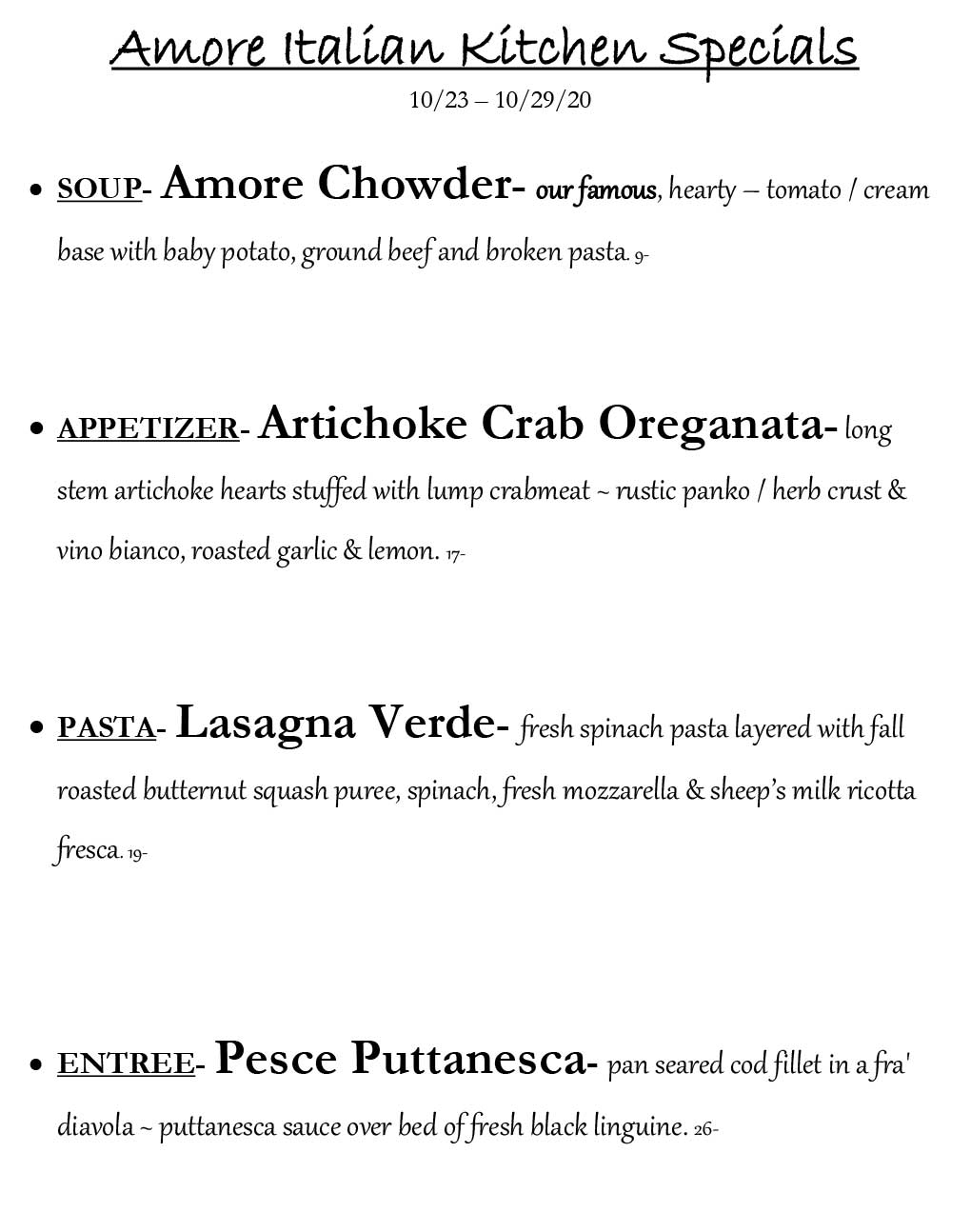 amore weekly specials from 10/23-10/29