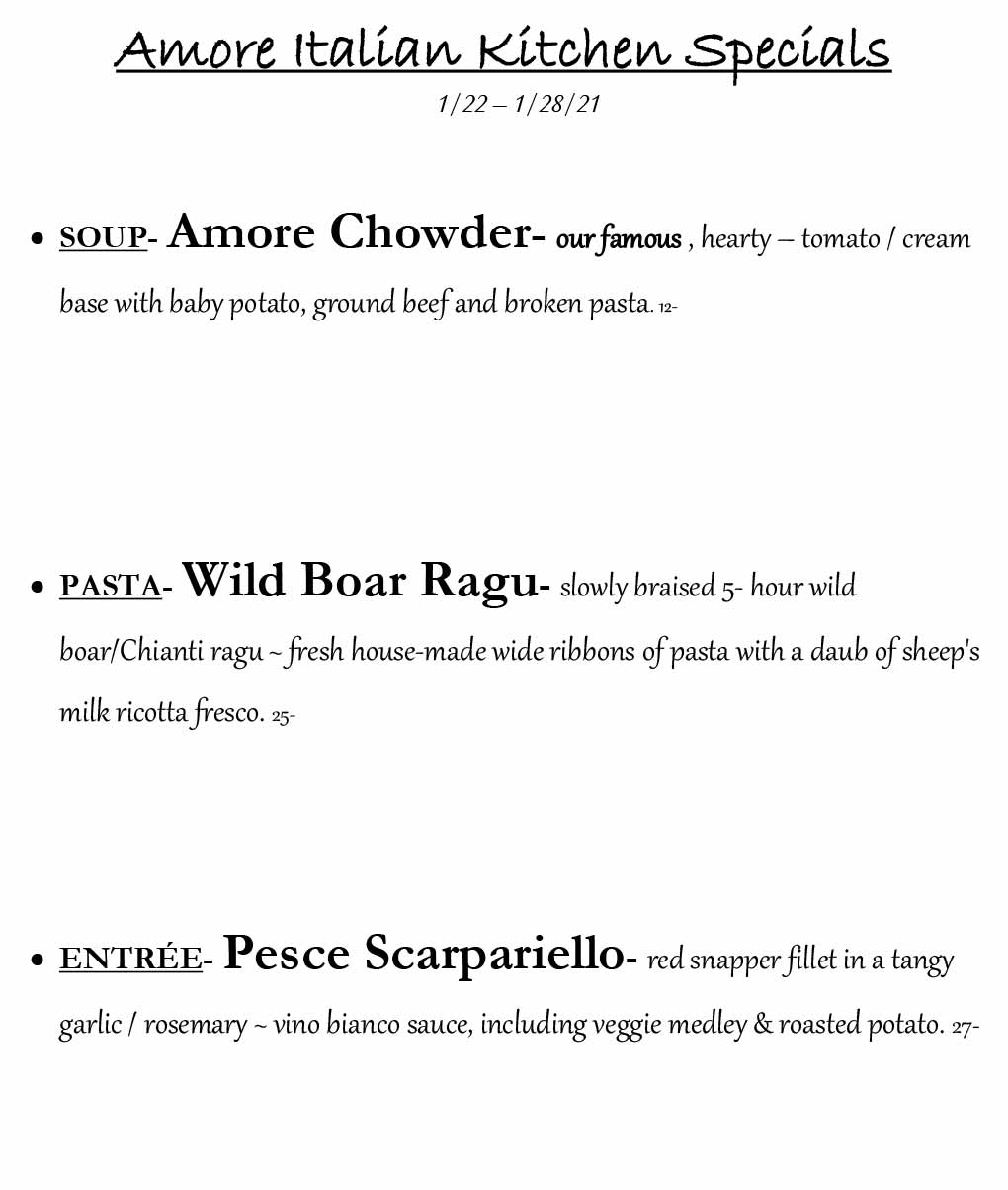 Weekly specials from 1/22-1/28