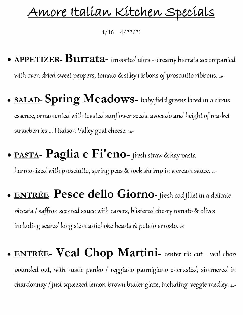 Amore weekly specials from 4/15/21 - 4/22/21